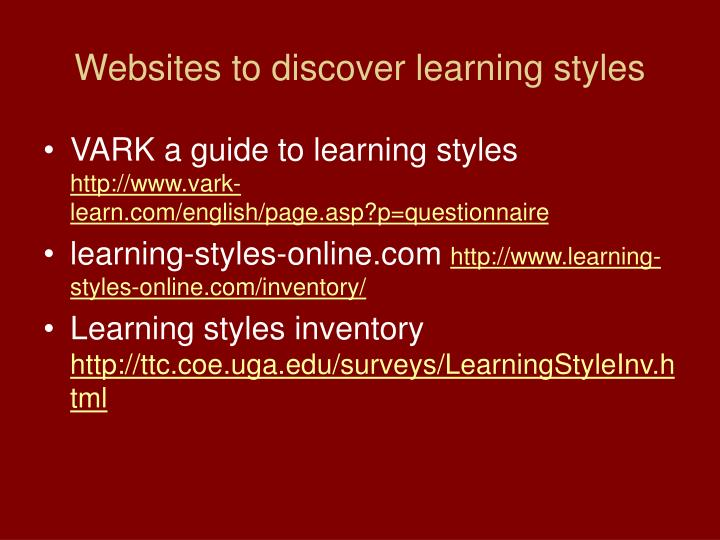 vark a guide to learning styles